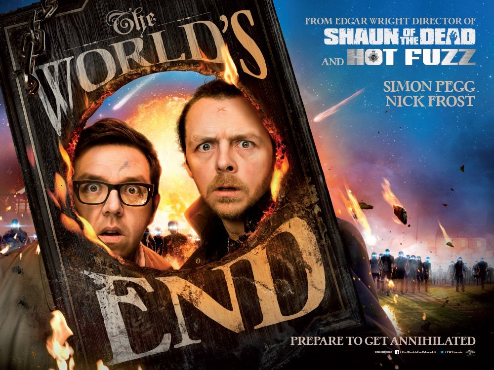 New poster for The World's End  There's obviously a high level of anticipation for Edgar Wright, Simon Pegg and Nick Frost's concluding instalment of the Cornetto Trilogy, The World's End. The first trailer is set to arrive this week so we will get a better idea on how it's looking then, but in the meantime Edgar Wright has released the quad poster for the film on his Twitter account.  As you can see, it's got Pegg and Frost peering out through a pub sign brandishing the film's title, a sign that appears to have been damaged by a meteor. And there are some bonus creepy looking blue eyed folk giving it an Invasion Of The Body Snatchers feel.