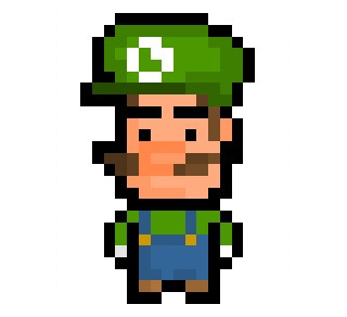 "Luigi, the lean green high-jumping machine and slightly overshadowed brother of Mario from Nintendo's iconic ""Super Mario"" franchise, now given a PixelBlock-styled 15 x 25 pixel resolution makeover.  Requested by: http://davecreator.tumblr.com/"