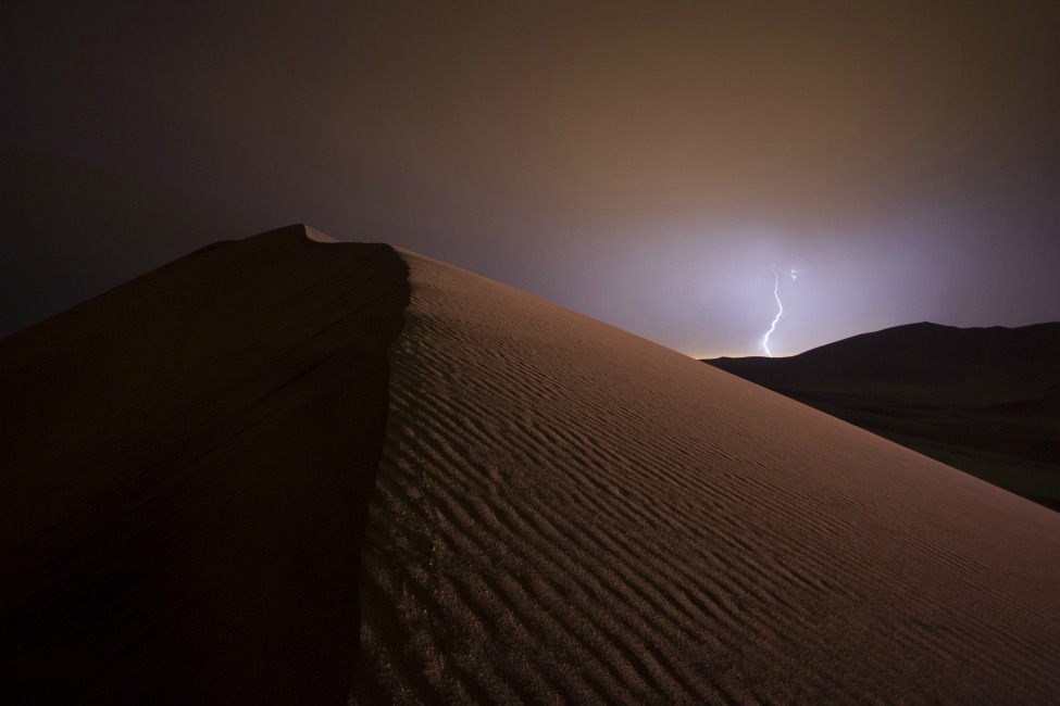 Photo of the Day: Lightning strikes the dunes of the Namib desert in Namibia Photo by Richard Sidey (Wanaka, New Zealand); Namib desert, Namibia