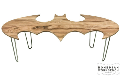 laughingsquid:  Carved Wood Batman Coffee Tables