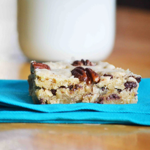 brown butter oatmeal pecan chocolate chip bars click here for recipe