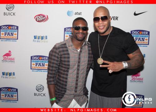 "DJ Irie and Flo Rida backstage after the BCS 2013 Concert in Miami Beach. NLPGimages.com ""We're Everywhere You're Not"""
