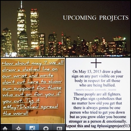 Upcoming projects . C: #May7Dashed #PlusSignProject513 #doit #projects #joinme #past #support #love #wrists #bracelets #notcutting #dashedline #plussign #neveralone #nevergiveup #positive #stayyou #stayhere #tagforlikes #tflers