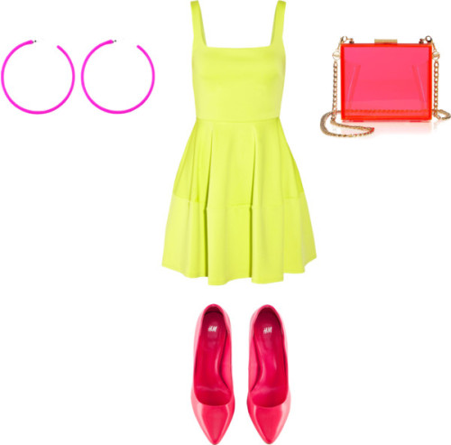 Neon by chellamichella featuring camilla and marc dressCamilla and Marc  dress, $580 / H&M patent leather pumps, $23 / Juicy Couture neon handbag / Pink earrings, $1.51