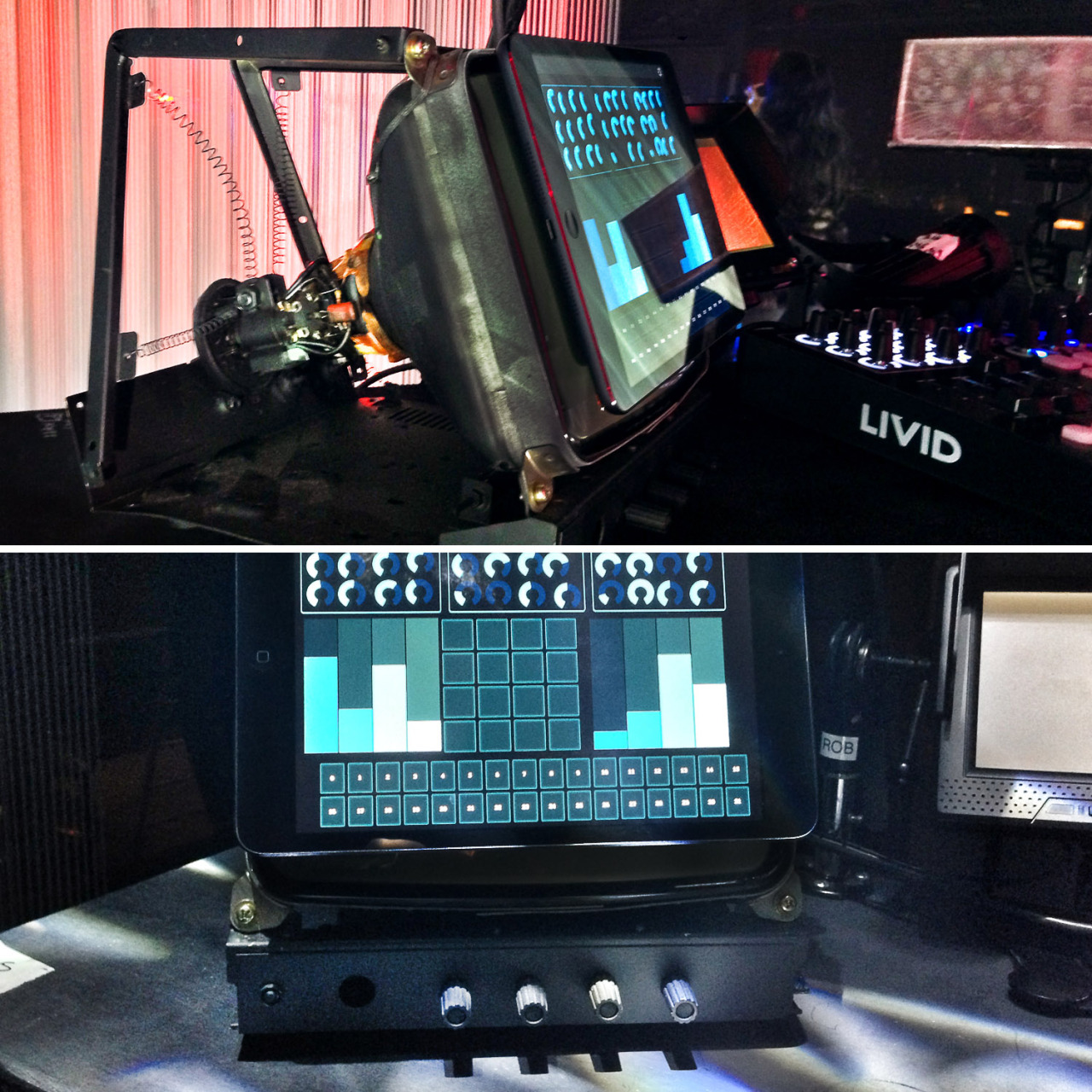 robsheridan:  For my HTDA live rig, I wanted to dress up the iPad Mini a bit, so I had this custom mount created from an old CRT tube. It was made by Jason Mueller.