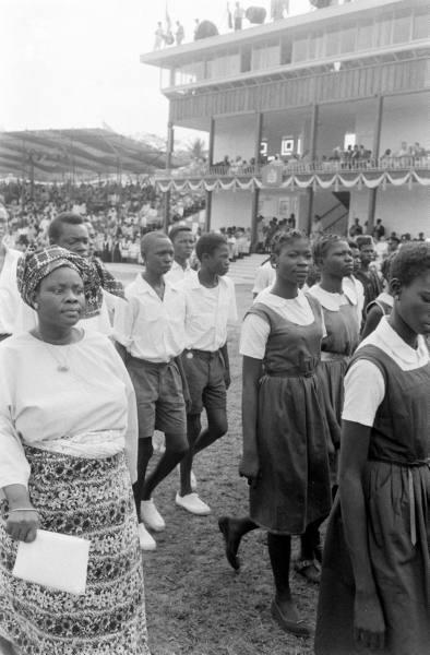 nigerianostalgia:  Students marching at Nigeria's Independence day Celebration , Lagos 1960Vintage Nigerian photos  Background for act 1 of BENEATHA'S PLACE.