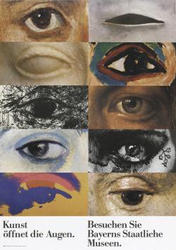 eye Poster graphic design 1980s Museum Bayern augen auge pierre mendell