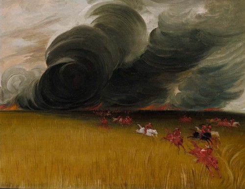 "cavetocanvas:  George Catlin, Prairie Meadows Burning, 1832 From the Smithsonian American Art Museum:  George Catlin painted ominous, swirling clouds of black smoke that loom out of the distance and drive the Indians before them. The artist was an eyewitness to such terrifying events, and described the fire's ""thunder rumbling as it goes."" But he also wrote that prairie fires made for ""some of the most beautiful scenes that are to be witnessed in this country, and also some of the most sublime."""