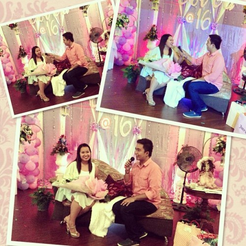 Mond Gutierrez interviewing Judy Ann Santos (nung kapapanganak! LOL) @tricialucas #EcaAt16 #sweet16  (at Windblows Private Place)