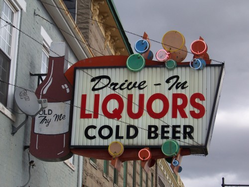 Drive-In Liquors - on the National Road in Cambridge City, Indiana USA - October 31, 2009 Credit: mobilene (Jim Grey) on Flickr