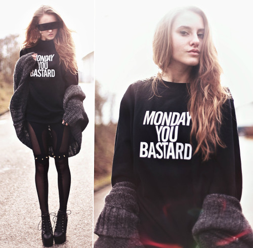 lookbookdotnu:  MONDAY YOU BASTARD (Giveaway on my blog!) (by Jessica Christ)