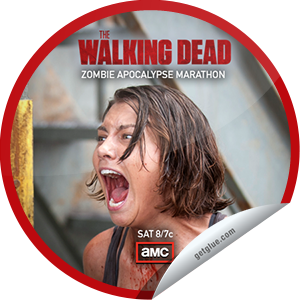 I just unlocked the Zombie Apocalypse Marathon: Day 6 sticker on GetGlue                      1538 others have also unlocked the Zombie Apocalypse Marathon: Day 6 sticker on GetGlue.com                  We're counting down to The Walking Dead's Season 3 finale, Sunday March 31 at 9/8c. Thanks for watching! Share this one proudly. It's from our friends at AMC.