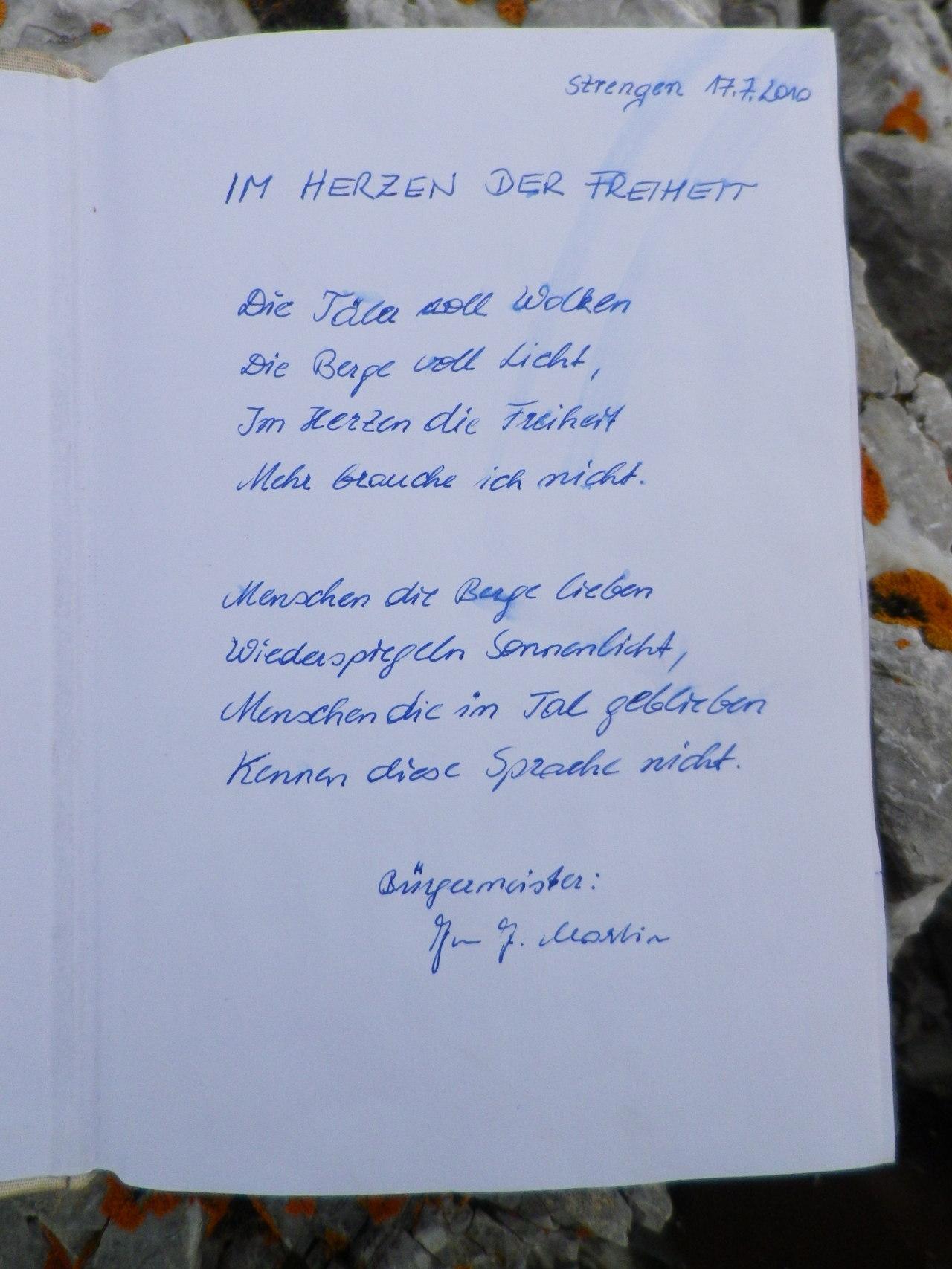 Gipfelbuch Eisenspitze