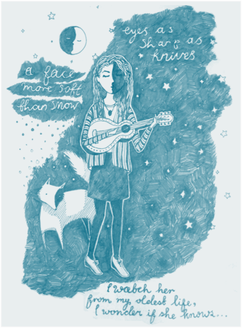 nathalie-clare-art:  A Face More Soft Than SnowA little drawing of folky singer, Rachel Sermanni, based on her 'Song To A Fox'…