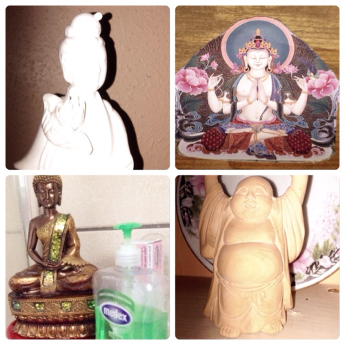 "More House Buddhas, one from the kitchen. Two from my shrine, one belonging to my grandma.  The hotty Hotei, his name means ""Cloth Sack,"" and comes from the bag that he is conventionally depicted as carrying. Looks like this one has eaten his sack. He is usually identified with Maitreya (or seen as an incarnation of). The little wooden hand carving was brought back from China as a present.  The White Buddha is Kwan Yin a combination of Chenrezig and Tara (aka Buddha Babe - the Mother of the Buddhas) also popular in China.  The Chenresig is a simple cardboard cut out from my shrine and is the National Buddha of Tibet Free State.  Medex is a Buddha as bathroom handwash.  Purify yourself. Buddhahood is next to the Impure."