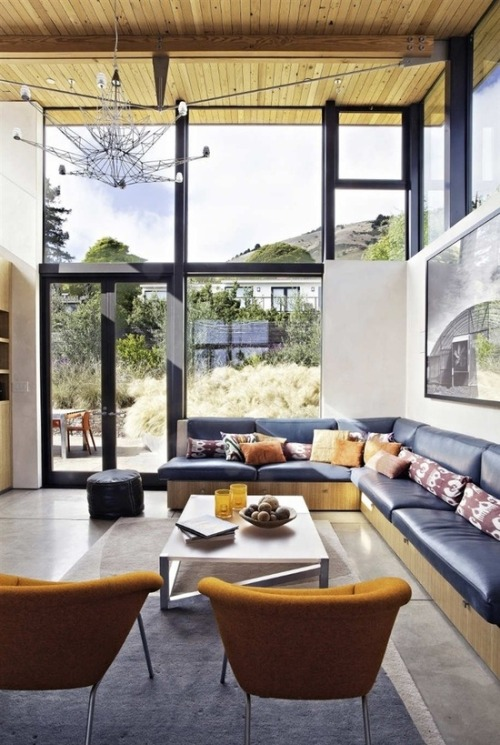 justthedesign:  Living Room At The Stinson Beach House by WA Design