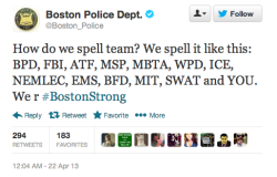 "digg:  The Boston PD says thanks.  How do we spell ""fiscal-cliff""? If American citizens are expected to pay their bills on time and be responsible for their own problems. Then why isn't our government held to the same standard? I understand the severity of the situation in Boston, I just think it shows how  misplaced funding and resources are. There are so many god damn agencies you have to use acronyms to fit them all in one tweet."