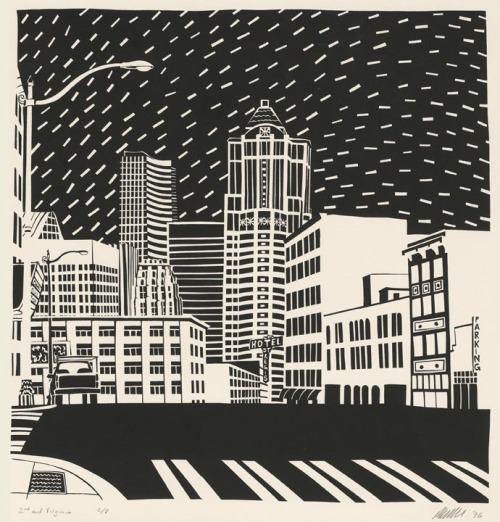 monkeyheadpress:  2nd and Virginia. Patrick Anderson Serigraph 1996 Edition 8.