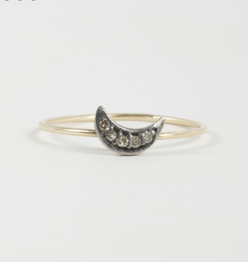 Catbird's Dark Side of the Moon ring in 18k gold with a sterling silver moon and five tiny diamonds.