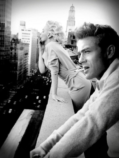 newyork:  marilyn monroe and james dean enjoying the view..
