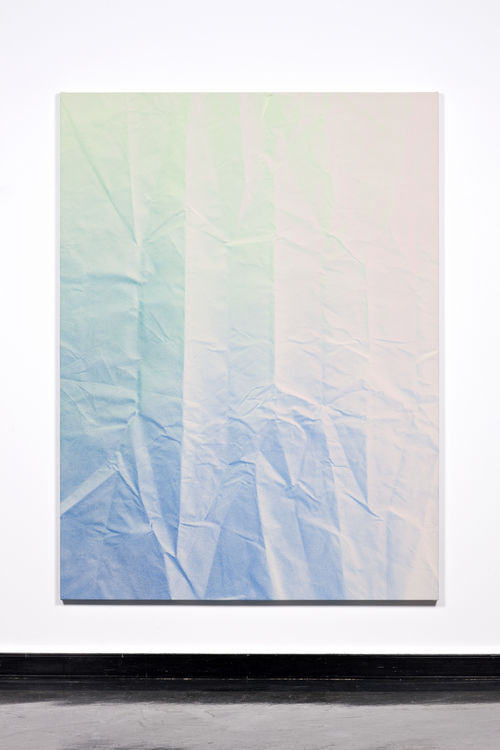 exasperated-viewer-on-air:  Tauba Auerbach - Untitled (Fold), 2011 acrylic on canvas / wooden stretcher 203.2 x 152.4 x 4.45 cm / 79.92 x 59.84 x 1.57""