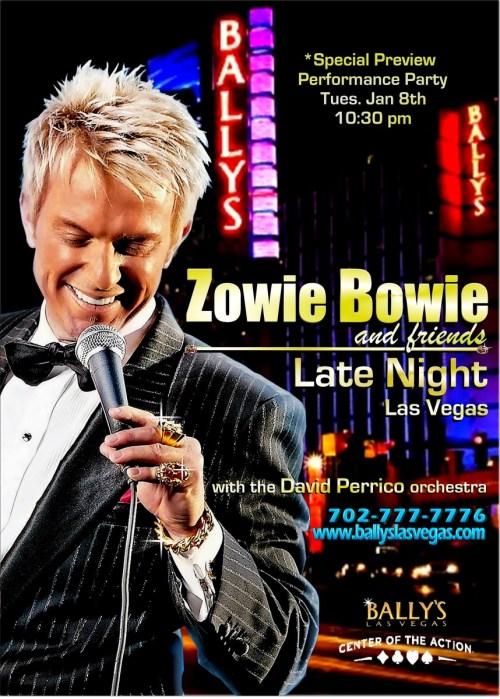 "Chris Phillips aka Zowie Bowie @zowiebowie brings Classic #Vegas Entertainment to Bally's @BallysVegas, Tuesday Jan 8, 2013, 10:30 PM in the intimate showroom of Windows at Bally's on the Las Vegas Strip.   This comes on the heels of the hit Celebrity Benefit Show for the USMC Toys for Tots Dec. 1, 2012, 'Vegas Stars Brighten the Holidays'.  This event, that was hosted by Chris, featured so many of the top entertainers of Las Vegas, who all came out to support the event sponsored by Cadillac of Las Vegas.  Just like that show, the amazing David Perrico Orchestra will once again be backing the talented performers of this late night at Bally's  This show captures the spirit of The Vegas Underground, and what has built 'The Entertainment Capital of the World'.  It's Live Entertainment in the style of the Rat Pack Era, where you just never know which entertainers or celebrities may turn out for the show to perform, or just mingle with the crowd.  Zowie Bowie and Friends… Late Night/Las Vegas is the hip, new Sophisticated Vintage Vegas Social Scene. Zowie Bowie and his array of celebrity guest entertainers will host an evening of Cuff links and Cocktails backed by a 20 pc all star orchestra. Late Night/Las Vegas is for those who wish to socialize and revel in an environment based on the maverick spirit that is truly ""Classic Las Vegas"" all with a view of the Las Vegas Strip as it's backdrop. This event will be airing live on the Vegas Video Network. Join us at Bally's Tuesday Jan 8th at 10:30 … Get your tickets now at:  Bally's Las Vegas 3645 Las Vegas Blvd. South Las Vegas, NV    702-777-7776  or  TicketMasterTheVegasUnderground.com Follow The Vegas Underground on Twitter @VegasUndergrnd Join our Facebook Group"