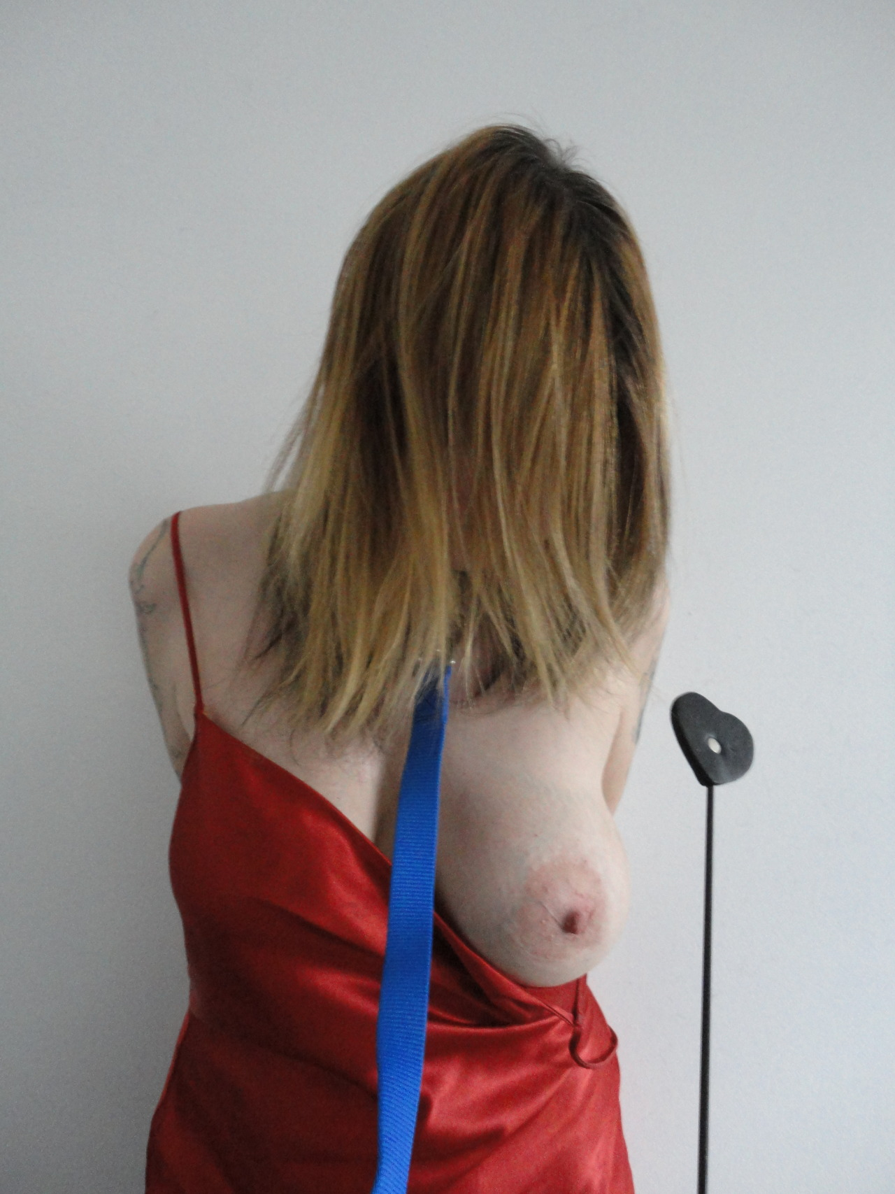 Red Slip, blue leash, and riding crop of love