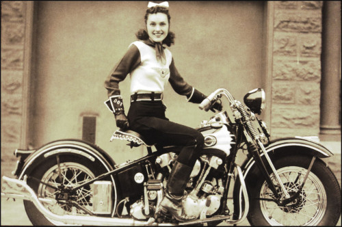 "1939: Dot Robinson, the ""First Lady of Motorcycling"" and founding member of Motor Maids, an all-female biker group."