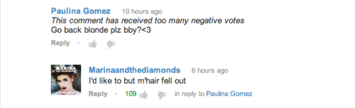 fymarinaandthediamonds:  Marina replies to a comment on the 'E.V.O.L' video on YouTube.
