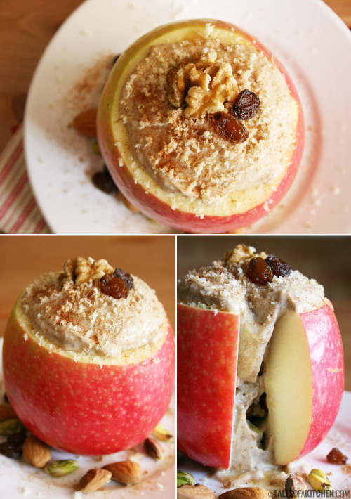 bakeddd:  apple with banana almond butter filling (raw, vegan) click here for recipe