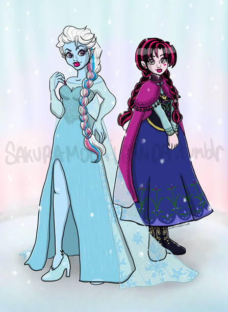 sakuramochipanda: Frozen X Monster High Crossover Yaaaaaaaaaay complete! I love this background.. so soft and pretty. <3 Abbey Bominable as Elsa and Draculaura as Anna. :)
