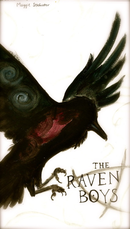 "ronanlynchsbitch:  So I painted the cover for ""The Raven Boys"" :) Original by Adam S. Doyle  For Maggie Stiefvater's ""The Raven Boys"""