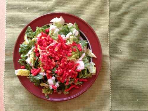I just invented this: hearts of romaine, ranch dressing, crushed Hot Cheetos. Tasty!