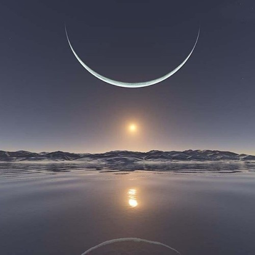 9gag:  Sunrise at the North Pole with the Moon at its closest point.