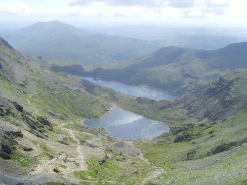 Glasyn lake and Llyn Lydaw from the 3560ft peak of Mount Snowdon, Wales, UK
