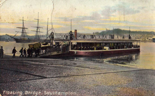 adventures-of-the-blackgang:  vintage postcard - Southampton floating bridge  The Floating Bridge was opened in 1836 and connected Southampton to Woolston. At that time Woolston was a separate village on the east bank of the River Itchen, it did not become part of Southampton until 1920. Originally owned by a private company, the Floating Bridge was purchased by Southampton Corporation in 1934. This service continued until 1977 when the Itchen Bridge was opened.  more