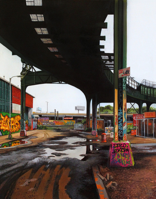 """Davis Street"" by Jessica Hess, oil painting on canvas 2013. Part of our booth at the Scope Art Fair in NYC this weekend, stay tuned for a limited edition fine art print release of this image happening next week!"