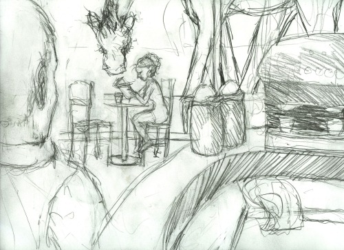 First sketch for Giraffes Can Read piece. There are some extra things that didn't make it to the final that are in this image for composition purposes only, so I exterminated them.