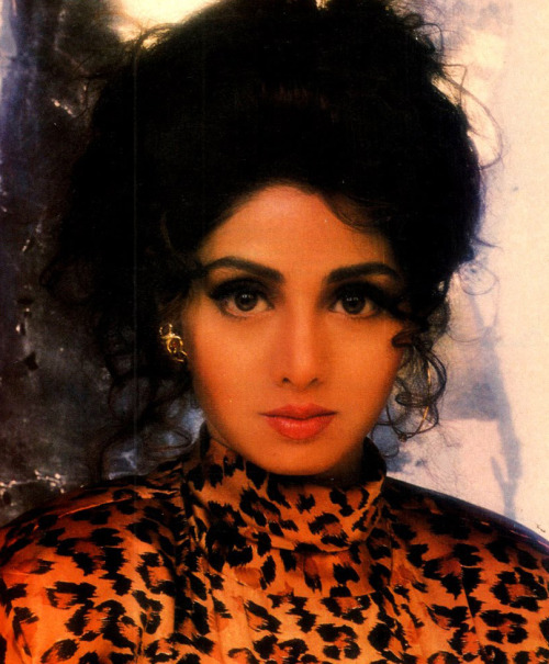 """Sridevi in a leopard print top. Shot by Rakesh Shreshta for MOVIE magazine in the '90s. Rakesh Shreshta, """"I call Sri, mai. She is my favourite. I find her very talkative, child-like, and she can lose weight at the snap of a finger. Heroines who come to my studio get complexed because her pictures stare from all over. Her favourite picture to date is the MOVIE gold foil cover, where she is dressed in a gold drage. She adores it. Mine keeps changing, the latest I feel is the best."""""""