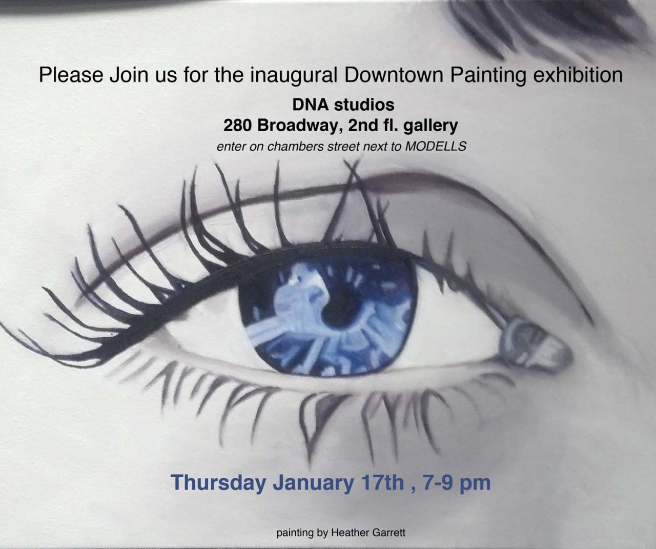 Please join us for the inaugural Downtown Painting exhibition, Thursday, January 17, 7-9 pm. A show of student work from the fall semester. At 280 Broadway, 2nd floor gallery (enter on Chambers street next to Modell's). Wine and snacks, beautiful paintings and excellent company. All friends, family and art lovers are welcome.