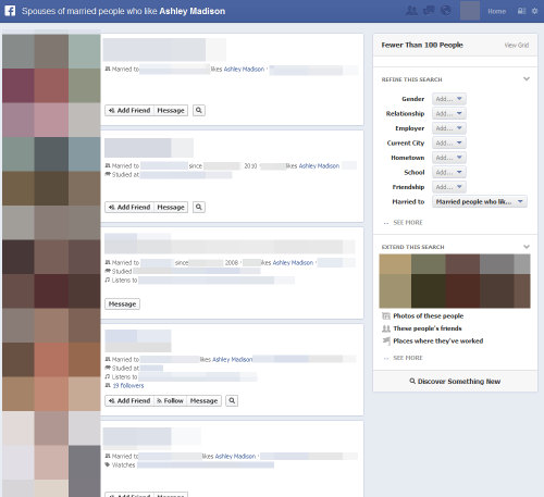 "Surfacing some potential privacy concerns in Facebook's new Graph search, via actualfacebookgraphsearches:  ""Spouses of married people who like [cheat-on-your-partner dating site] Ashley Madison"""