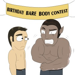 ask-lordsheogorath:  BARE BIRTHDAY BOY BODIES FER EVERYONE! Aphex (mod) left, Drake (OC) right. Happy birthday Zahhaks and Aphex. Don't act like yer not impressed.    Oh dear lord! LOL!