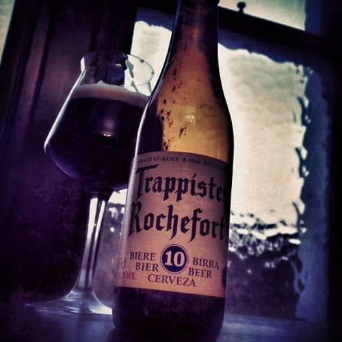 this is my number 1 beer. EASY treamigos:  Trappistes Rochefort 10 Tonight I have been blessed. No, not by a priest or a rabbi. I've been blessed by a filled glass. This glass was once full of the mahogany hued elixir of taste, yet as I looked back upon the chalice, nothing remained. One may say that magic was at its work. But no. The cause of this vanishing act was pure tastiness. A delectableness crafted by the monks known so well for, well, delectable fucking beers.  For me, this is the holy grail of the Belgians, and is one that sits highly among the perches of my favourite beers. And for those who have never experienced the sheer joy of the Rochefort 10, your sins will be forgiven as soon as you've downed it down the hatch.  And on that note, go forth and get this fucking beer.  RS