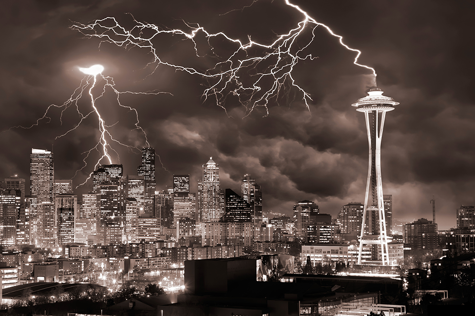 Photo of the Day: Lightning Hitting the Seattle Space Needle An Editors' Pick from our 2012 Photo Contest.  Photo by Clane Gessel (Seattle, WA); Seattle, WA