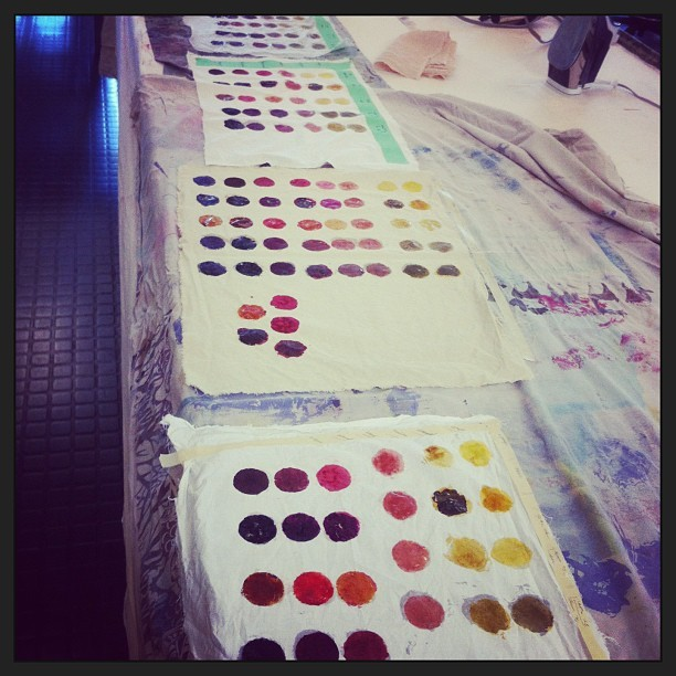 Natural dye workshop day 3 . Colour charts .