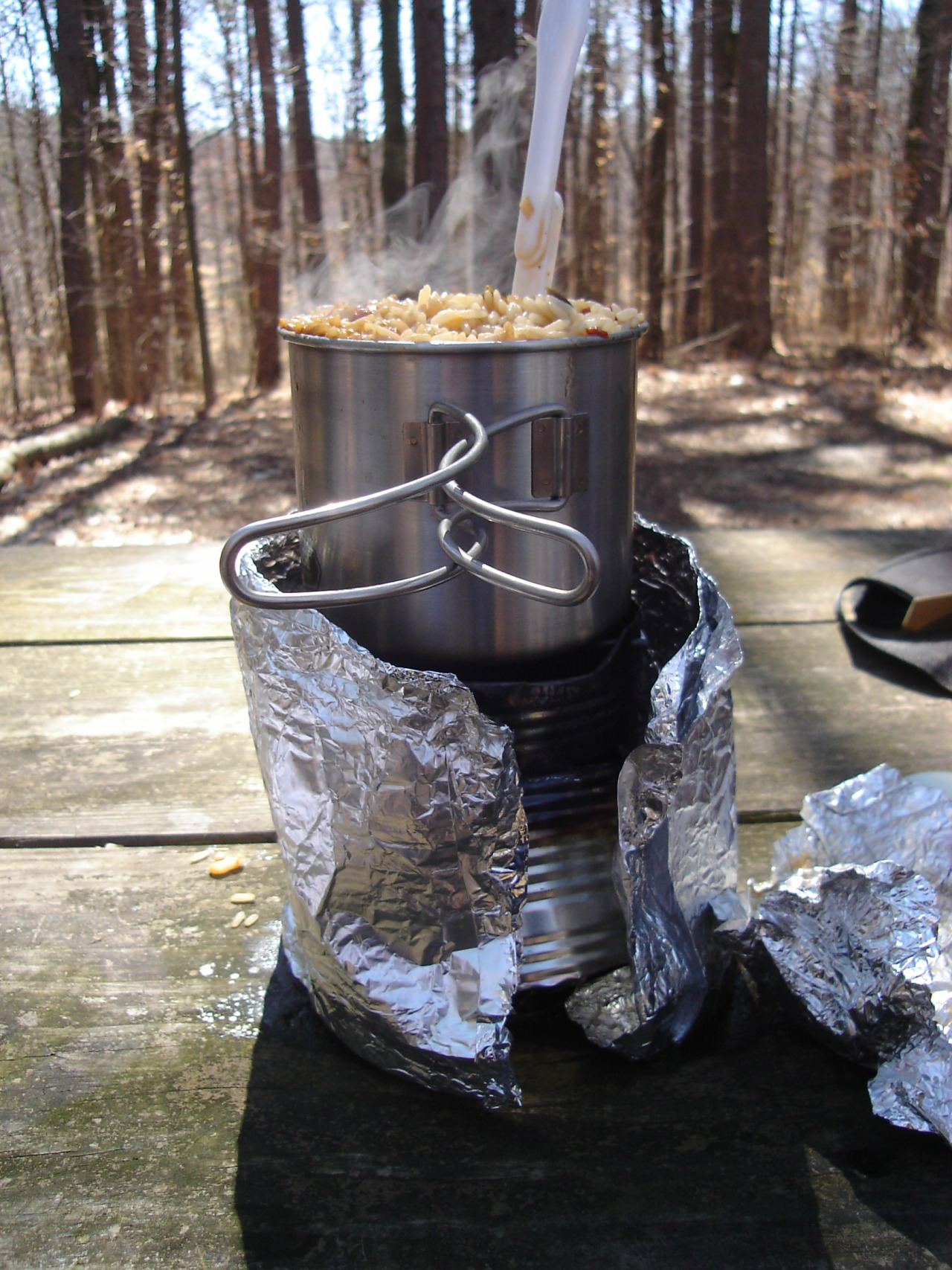 shadowofoak:  Stopping for lunch. Homemade nalgene nesting stove.  Ran on methanol this time.