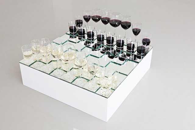 ancientdays  anders nordby, wine glass chess set