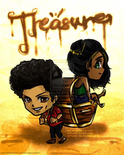 "echosei:  TREASURE! by ~Echosei It looks like ""treasurei""  whatever lols. LONG TIME NO CHIBI!!!!!! :'D I dunno if I still got it :