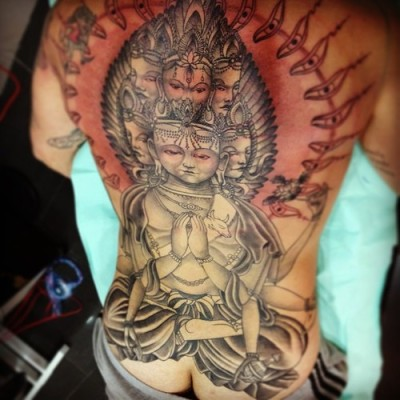 Avalokiteshvara back piece by Jose Gonzalez at Ink-in Tattoo (Marbella, Spain) www.inkintattoo.com