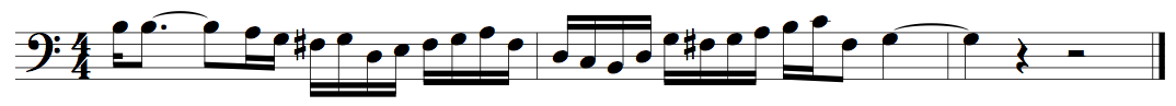 An aleatoric score created by a Markov Bach impersonator.